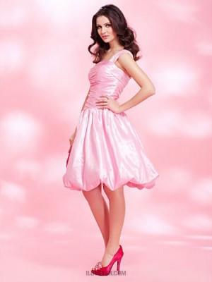 A Line Princess Sexy One Shoulder Knee Length Taffeta Prom Dress