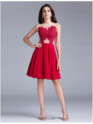 A Line Jewel Neck Knee Length Chiffon Australia Cocktail Party Homecoming Prom Dress with Appliques