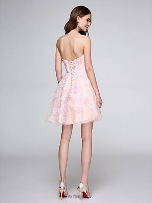 A Line Sweetheart Short Mini Tulle Australia Cocktail Party Homecoming Prom Dress with Appliques