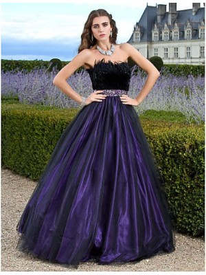 A Line Ball Gown Princess Strapless Floor Length Tulle Prom Quinceanera Dress with Beading