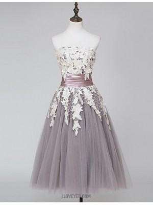 Ball Gown Strapless Tea Length Lace Tulle Prom Dress with Lace