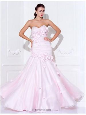 Mermaid Trumpet Spaghetti Straps Sweetheart Floor Length Organza Prom Dress with Beading