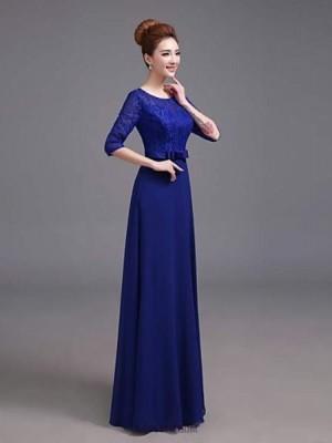 A Line Scoop Neck Floor Length Satin Australia Formal Evening Dress with Pockets