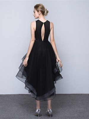 Ball Gown Jewel Neck Asymmetrical Satin Tulle Australia Cocktail Party Homecoming Dress with Beading Bow Sash Ribbon