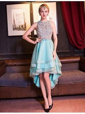 A Line Jewel Neck Asymmetrical Tulle Prom Dress with Beading