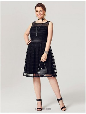 A Line Jewel Neck Knee Length Tulle Stretch Satin Australia Cocktail Party Homecoming Dress with Sash Ribbon