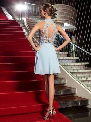 A Line High Neck Short Mini Chiffon Tulle Prom Dress