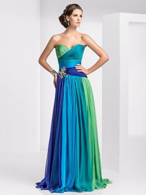 A Line Strapless Sweetheart Floor Length Chiffon Prom Dress with Crystal