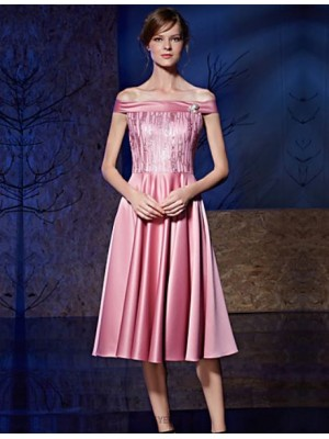 A Line Bateau Neck Knee Length Satin Sequined Australia Cocktail Party Prom Dress with Pearl Detailing Sequins