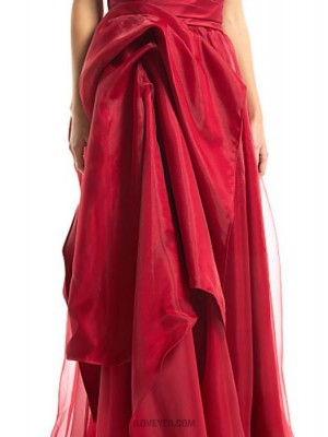 A Line Sexy One Shoulder Floor Length Organza Satin Prom Australia Formal Evening Dress with Side Draping