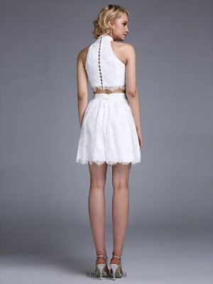 A Line Halter Short Mini Lace Homecoming Prom Dress with Beading Buttons
