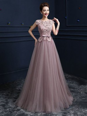 Ball Gown Jewel Neck Floor Length Satin Tulle Prom Dress with Beading