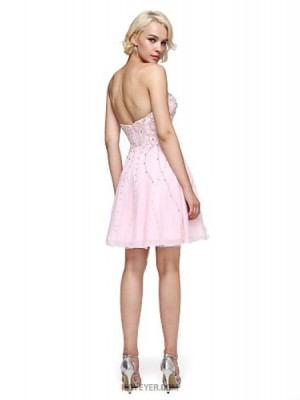 A Line Sweetheart Short Mini Chiffon Australia Cocktail Party Homecoming Prom Dress with Beading Crystal Detailing