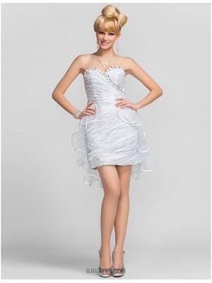 Sheath Column Strapless Sweetheart Short Mini Tulle Charmeuse Graduation Dress with Beading