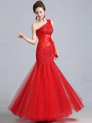 Fit Flare Sexy One Shoulder Floor Length Lace Tulle Evening Dress with Lace