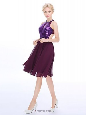 A Line High Neck Knee Length Chiffon Sequined Australia Cocktail Party Dress with Pearl Detailing
