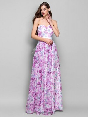 A Line Princess Strapless Sweetheart Floor Length Chiffon Prom Dress with Beading