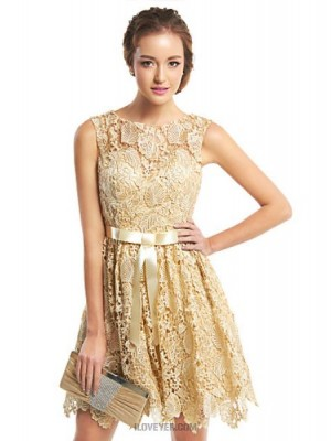 A Line Scoop Neck Short Mini Lace Australia Cocktail Party Homecoming Prom Dress with Lace