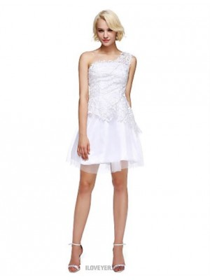 A Line Sexy One Shoulder Short Mini Lace Tulle Australia Cocktail Party Homecoming Prom Dress with Beading