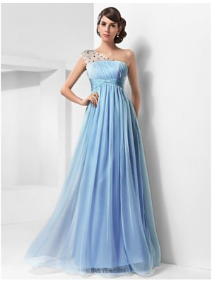 A Line Princess Sexy One Shoulder Floor Length Chiffon Tulle Prom Dress with Beading