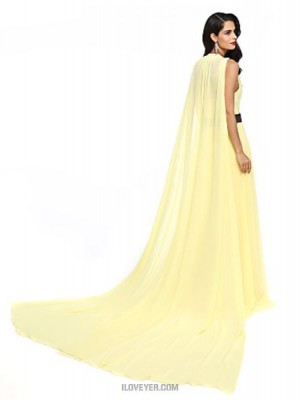 A Line Jewel Neck Watteau Train Chiffon Australia Formal Evening Dress with Sash Ribbon