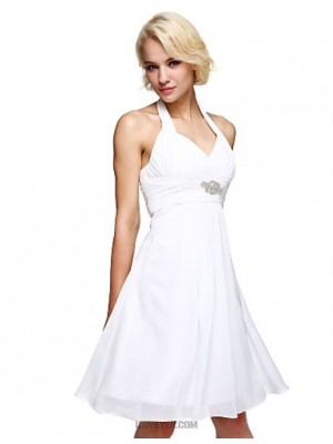 A Line Halter Knee Length Chiffon Australia Cocktail Party Dress with Crystal Detailing Draping