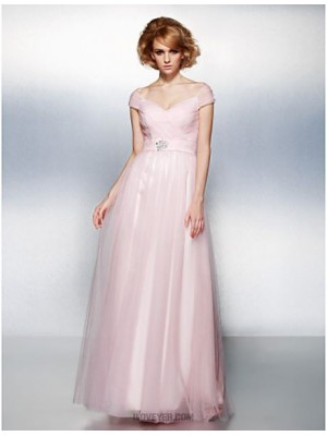 A Line Off the shoulder Floor Length Tulle Prom Dress with Crystal