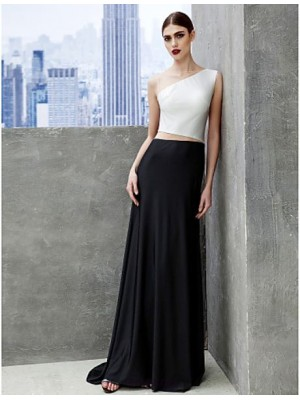 A Line Bateau Neck Sweep Brush Train Tulle Jersey Prom Australia Formal Evening Black Tie Gala Dress with Pleats