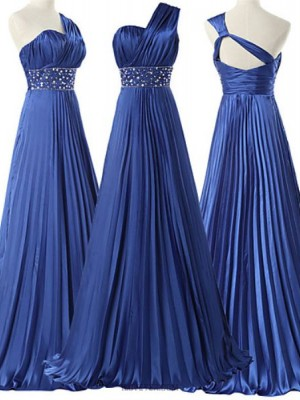 A Line Sexy One Shoulder Floor Length Satin Australia Formal Evening Dress with Beading Pleats