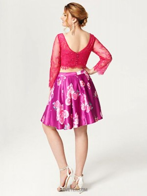 A Line Bateau Neck Knee Length Lace Satin Australia Cocktail Party Homecoming Dress with Buttons Crystal Detailing Pleats