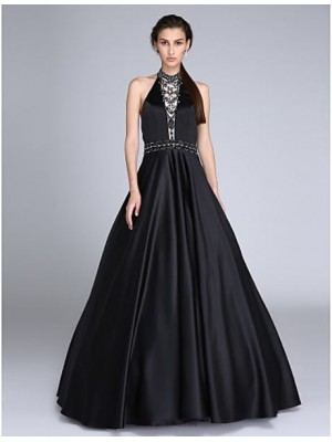 Ball Gown Halter Floor Length Satin Prom Dress with Beading Sash Ribbon