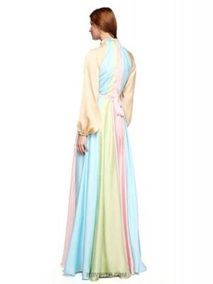 A Line High Neck Floor Length Chiffon Australia Formal Evening Dress with Sash Ribbon Pleats