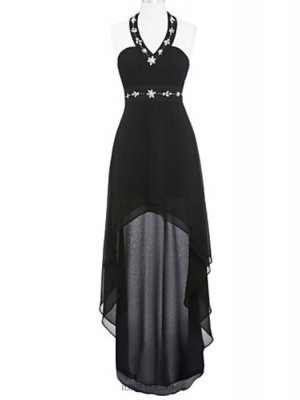 A Line Halter Asymmetrical Chiffon Australia Cocktail Party Prom Dress with Beading