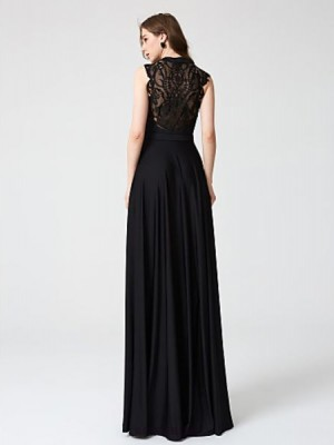 A Line Halter Floor Length Lace Jersey Australia Formal Evening Dress with Lace Pleats