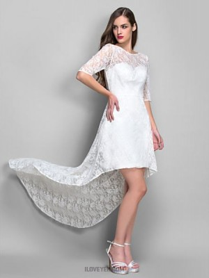 Sheath Column Scoop Neck Asymmetrical Lace Graduation Australia Cocktail Party Homecoming Holiday Dress with Pleats