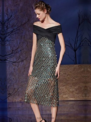 Sheath Column Off the shoulder Tea Length Satin Sequined Australia Cocktail Party Prom Dress with Buttons Sequins