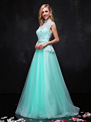 A Line High Neck Floor Length Lace Tulle Prom Dress with Beading