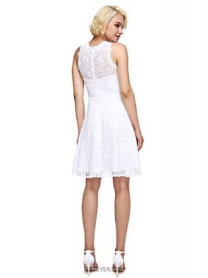 A Line High Neck Knee Length Lace Australia Cocktail Party Homecoming Prom Dress with Lace