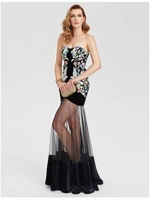 Sheath Column Sweetheart Floor Length Tulle Velvet Australia Formal Evening Dress with Pattern Print