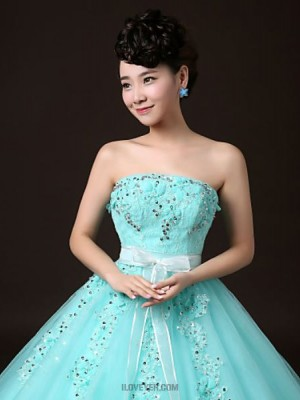 Ball Gown Strapless Floor Length Tulle Prom Dress with Crystal
