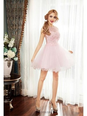 A Line Jewel Neck Short Mini Tulle Australia Cocktail Party Prom Dress with Beading