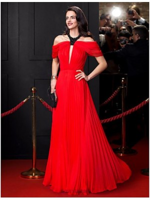 A Line Jewel Neck Floor Length Chiffon Prom Australia Formal Evening Dress with Beading Draping