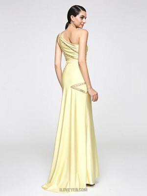 Mermaid Trumpet Sexy One Shoulder Sweep Brush Train Jersey Australia Formal Evening Dress with Beading Lace