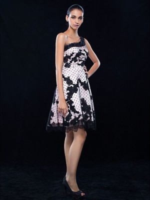A Line Princess Sexy One Shoulder Knee Length Lace Stretch Satin Australia Cocktail Party Homecoming Dress with Lace