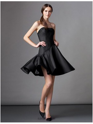 A Line Strapless Knee Length Satin Australia Cocktail Party Homecoming Dress with Pleats