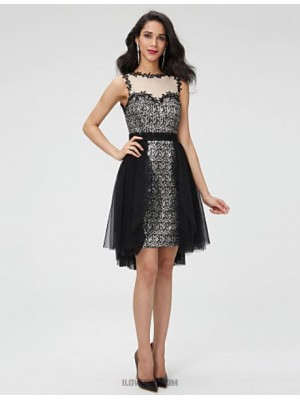 A Line Jewel Neck Asymmetrical Tulle Sequined Australia Cocktail Party Homecoming Dress with Beading Sash Ribbon Pleats