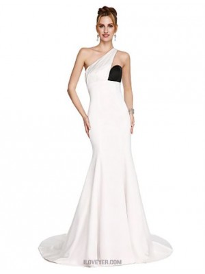 Mermaid Trumpet Sexy One Shoulder Sweep Brush Train Satin Prom Australia Formal Evening Dress with Side Draping