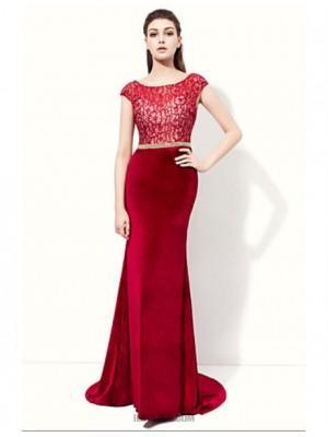 Mermaid Trumpet Scoop Neck Floor Length Velvet Evening Dress with Lace Ribbon