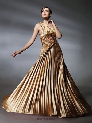 A Line Princess Sexy One Shoulder Sweep Brush Train Stretch Satin Evening Dress with Beading
