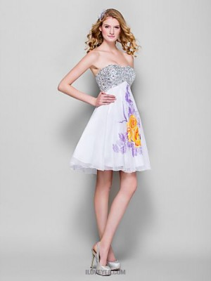A Line Sweetheart Short Mini Chiffon Sequined Homecoming Prom Dress with Beading Sequins